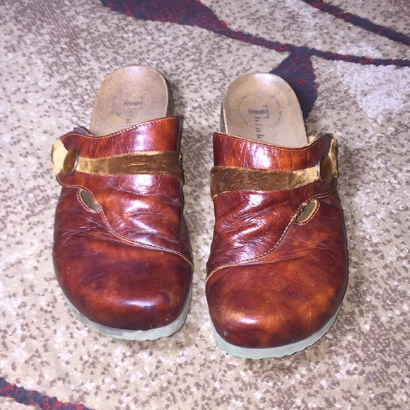 Think! Shoes - Copper Think! Slip On Clogs With Velcro Closure